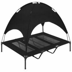 Black-raised-dog-bed-roof - pawsandtails.pet