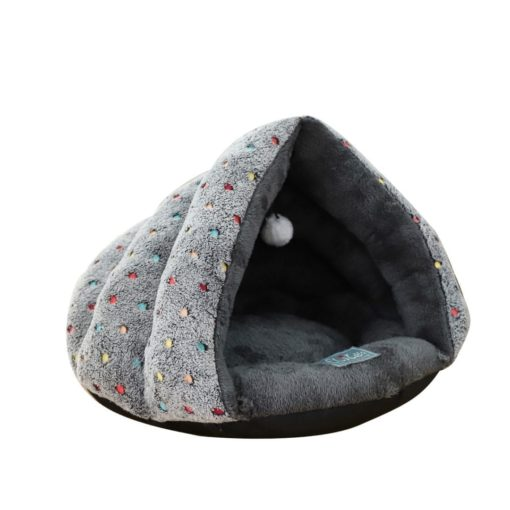 Grey Covered Bed With Dot Pattern - pawsandtails.pet