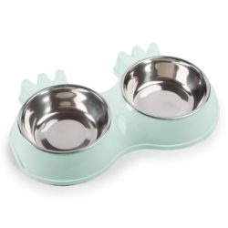 Double Food & Water Stainless Steel Bowls – Crown Design - pawsandtails.pet