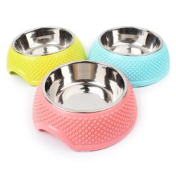 Medium Stainless Steel & Abs Food & Water Bowl With Heart Pattern - pawsandtails.pet