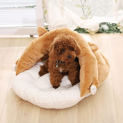 Brown Covered Bed With Paws And Ears - pawsandtails.pet