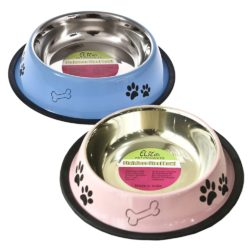 Stainless Steel Non-slip Food & Water Bowls With Paw Print Design - pawsandtails.pet