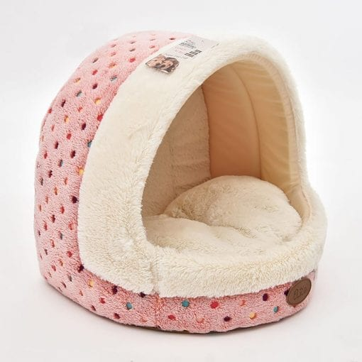 Pink & Cream Covered Bed With Dot Pattern - pawsandtails.pet