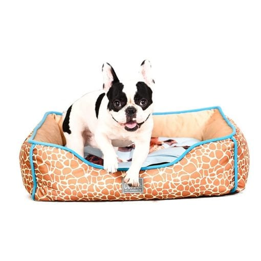 Square Bed With Giraffe Pattern - pawsandtails.pet
