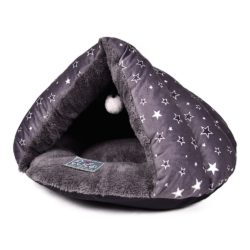 Grey Covered Bed With Star Pattern - pawsandtails.pet