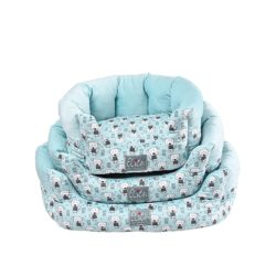 Blue Round Bed With Dog Pattern - pawsandtails.pet