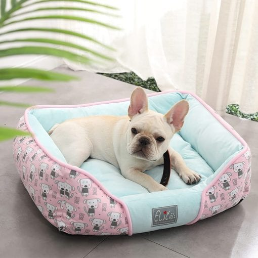 Pink & Blue Square Bed With Dog Pattern - pawsandtails.pet