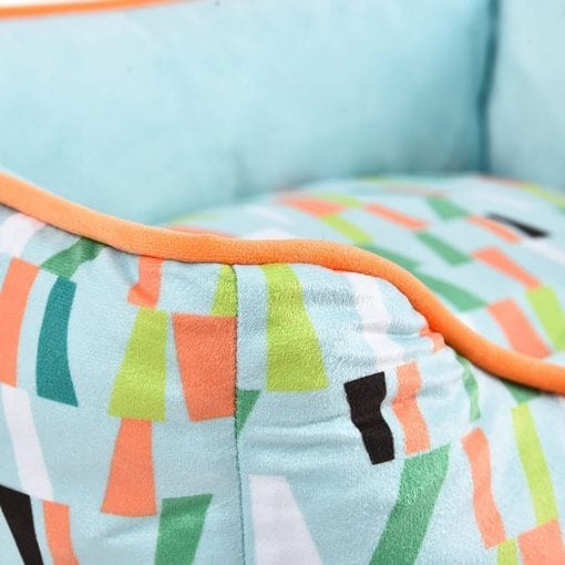 Green & Orange Square Bed With Retro Pattern - pawsandtails.pet
