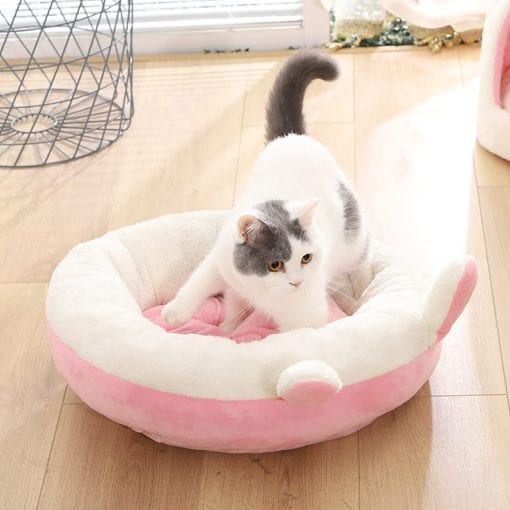 Pink Round Bed With Ears - pawsandtails.pet