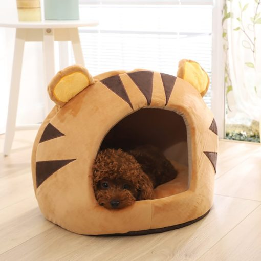 Round Covered Bed With Tiger Pattern & Ears - pawsandtails.pet