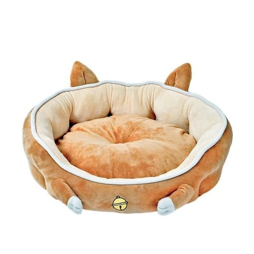 Brown Bed With Paws And Ears - pawsandtails.pet