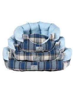 Tartan Blue Round Bed - pawsandtails.pet