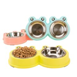 Stainless Steel Frog Bowl Twin Food & Water Bowls - pawsandtails.pet