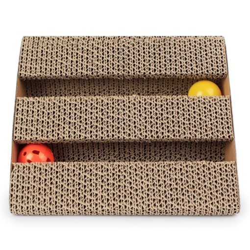 Corrugated Scratching Board – 2 Ball Toys - pawsandtails.pet