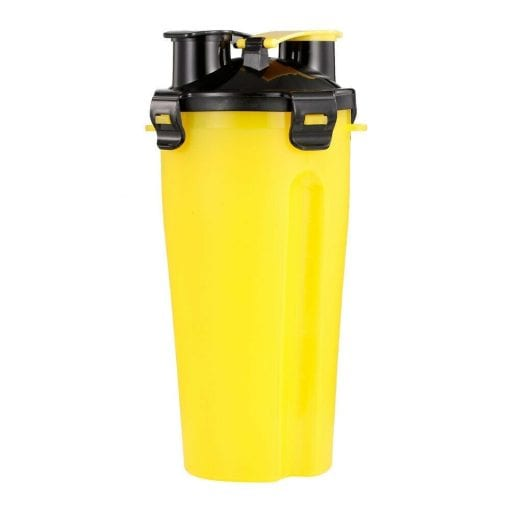 Portable Dual Chamber Bottle For Your Pet's Water And Food – Yellow - pawsandtails.pet