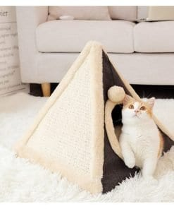 Pyramid Tent Pet Bed for Cats Brown - pawsandtails.pet