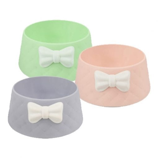 Bow Style Pet Dog Cat Bowl Feeding Drinking Plastic Dish Feeder - pawsandtails.pet