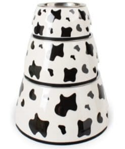 Cow Pattern Stainless Steel & Plastic Outer Food & Water Bowl - pawsandtails.pet