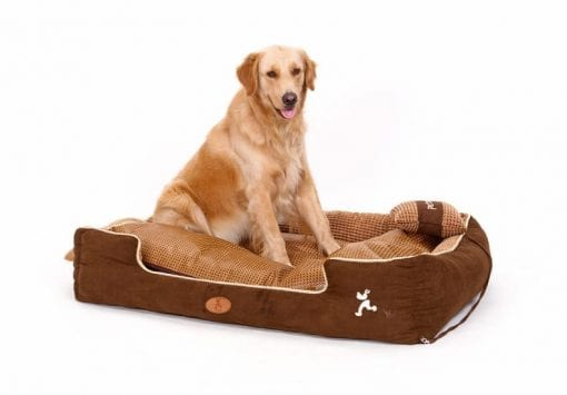 Soft Brown Pet Bed with Pillow - pawsandtails.pet