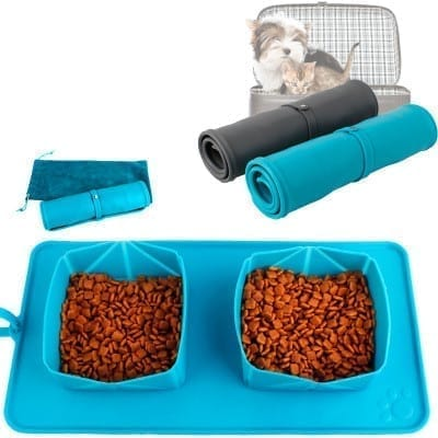 Roll Up Portable Pet Dog Cat Bowl for Food and Water - pawsandtails.pet