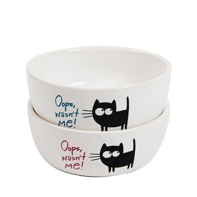Ceramic Pet Bowl for Cat – Food or Water Bowl – Oops Wasn't Me – 2 Colours - pawsandtails.pet