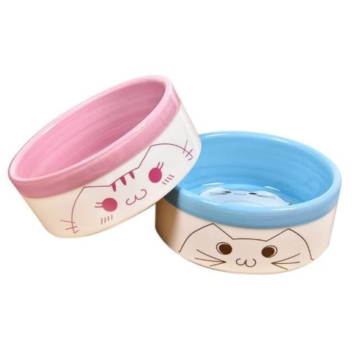 Ceramic Handrawn Pet Bowl for Cat- Food or Water Bowl – 2 Colours - pawsandtails.pet