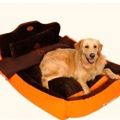 Soft Orange Pet Bed with Headboard - pawsandtails.pet