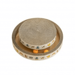 Pet Scratching Board twin circles with Balls Small