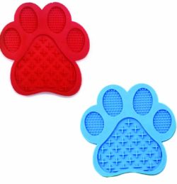 Red and Blue Lick Paw Print mat