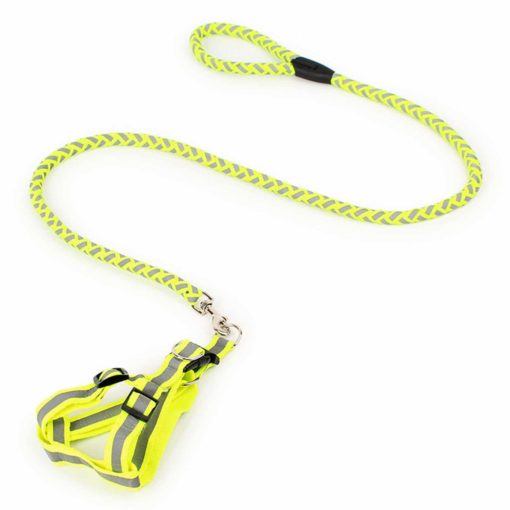 Step-in Safety Nylon Reflective Dog Puppy Adjustable harness ,lead set Yellow